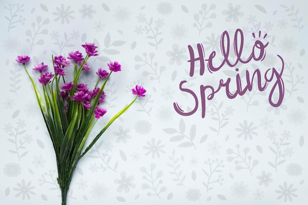 春の花の花束のトップビュー