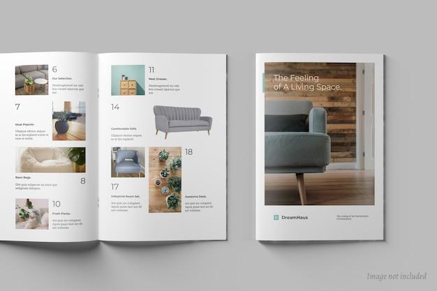 Вид сверху макетов брошюр и каталогов