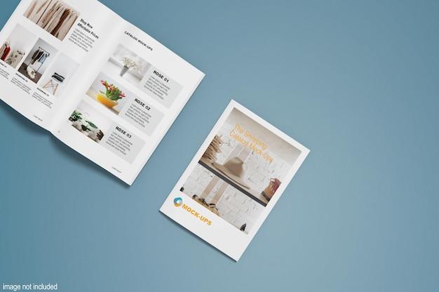 Вид сверху на макеты брошюры и каталог