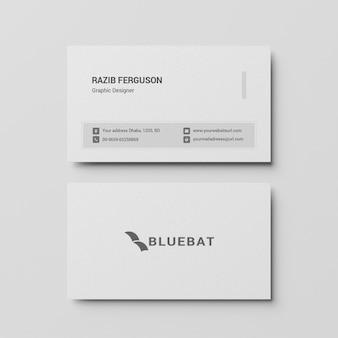 Вид сверху шаблона визитной карточки