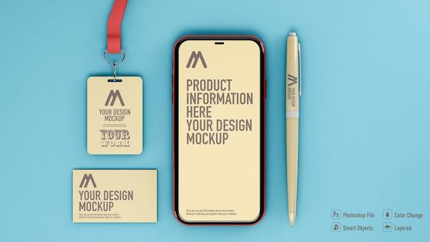 分離されたカード、バッジ、スマートフォン、鉛筆のモックアップの上面図