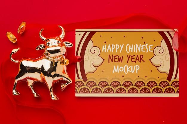 Вид сверху макета китайского нового года