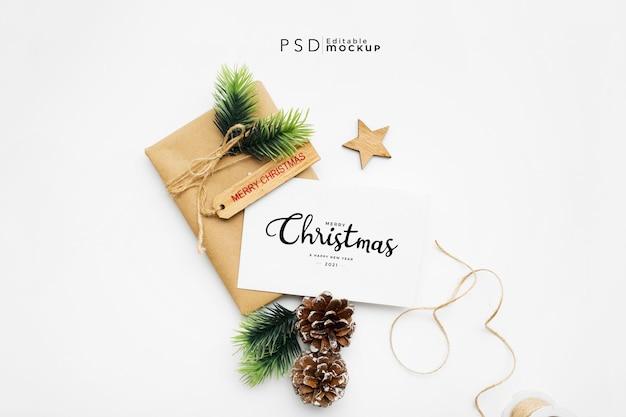 선물 상자 크리스마스 구성의 상위 뷰