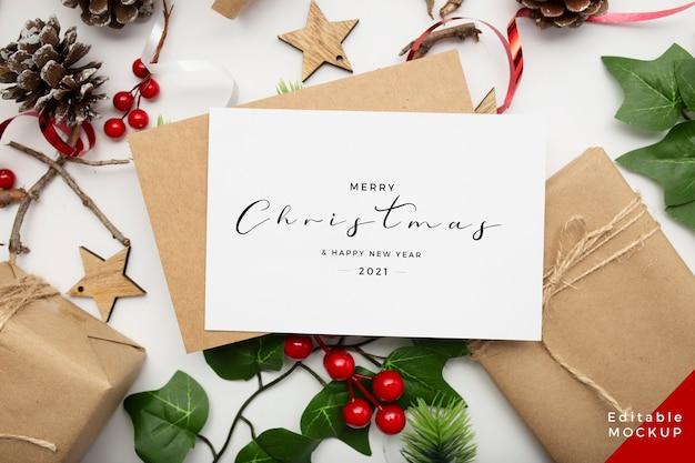 ギフトボックスとクリスマスの構成の上面図
