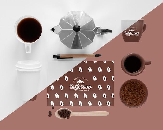 コーヒーコンセプトのモックアップの上面図 無料 Psd