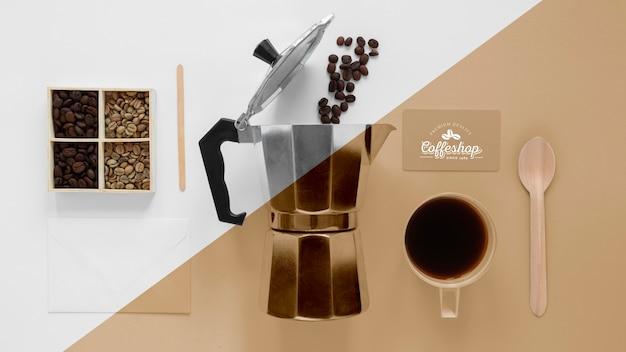 コーヒーコンセプトのモックアップの上面図 Premium Psd