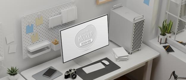 모형 화면이있는 컴퓨터 장치의 상위 뷰