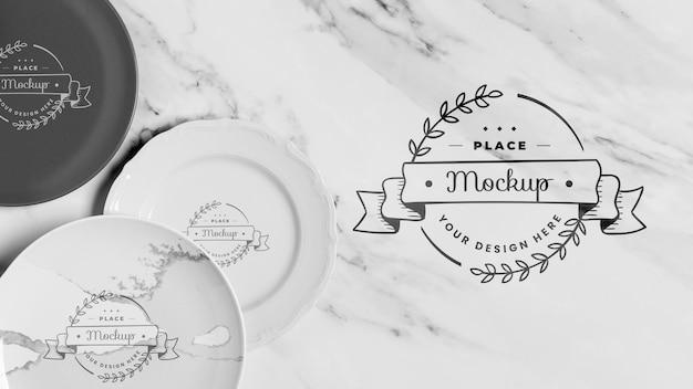 Макет концепции посуды, вид сверху