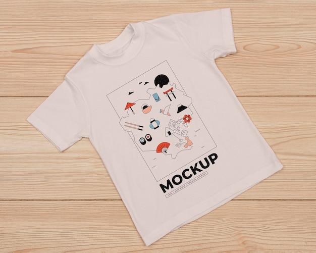 かわいいtシャツコンセプトモックアップの上面図