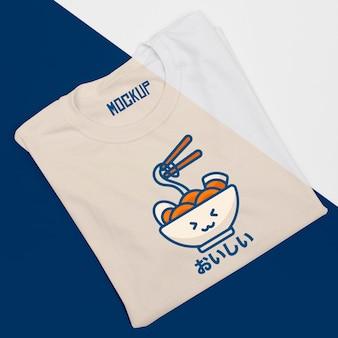 귀여운 티셔츠 개념 모형의 상위 뷰