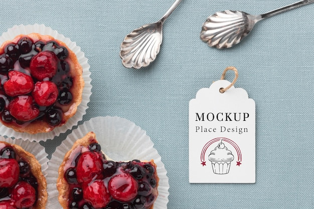 Вид сверху вкусного макета концепции пекарни