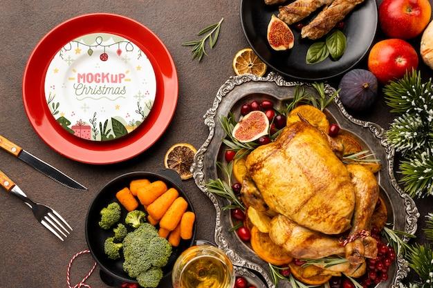 おいしいクリスマス料理のモックアップの上面図