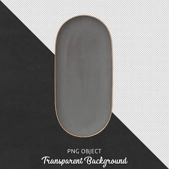 고립 된 회색 서빙 접시의 상위 뷰