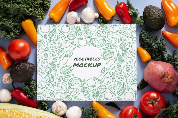 Вид сверху макета концепции здоровых овощей