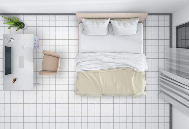 Вид сверху на интерьер спальни с настольным компьютером
