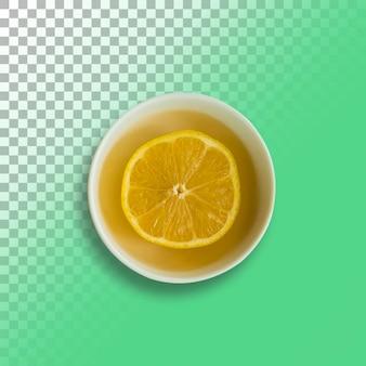 透明な背景の上のカップのレモンジュースの上面図。