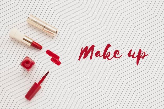 Вид сверху макета концепции макияжа