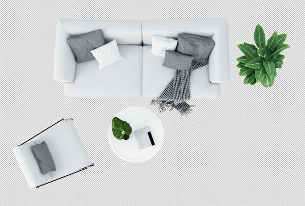 Вид сверху макет рамы с диваном и растений