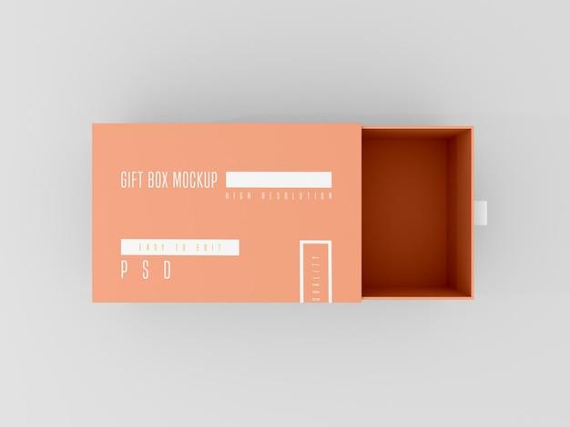 열린 배달 상자 모형의 상위 뷰