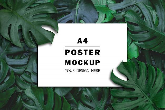 Вид сверху бумажного макета с листьями монстеры