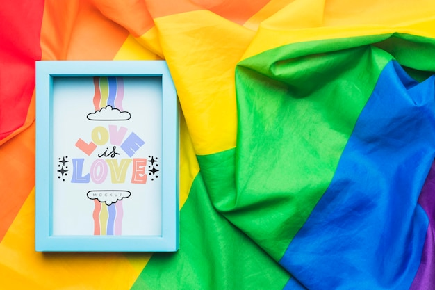 プライドとフレームの虹色のテキスタイルのトップビュー
