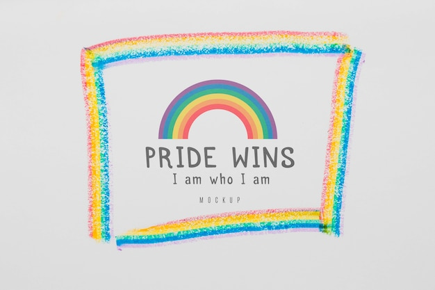 プライドのメッセージと虹のトップビュー