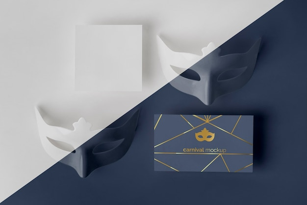 マスク付きの単純なカーニバルの招待状の上面図