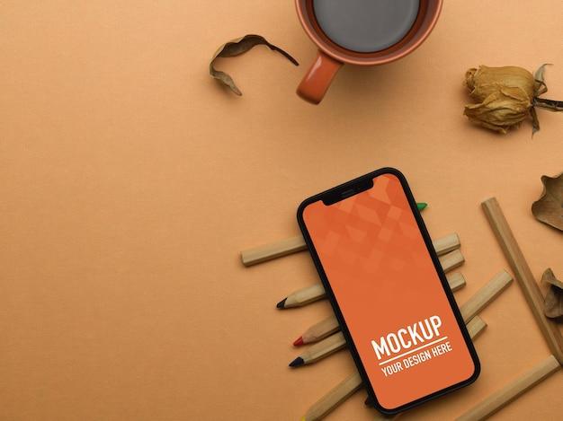 色鉛筆でスマートフォンのモックアップの上面図