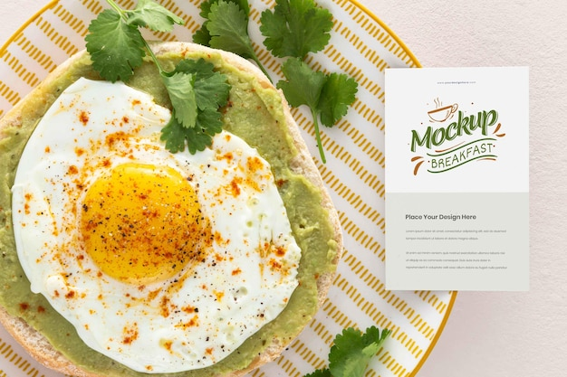 健康的な朝食のモックアップデザインの上面図
