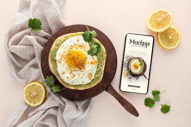 Вид сверху на дизайн макета здорового завтрака