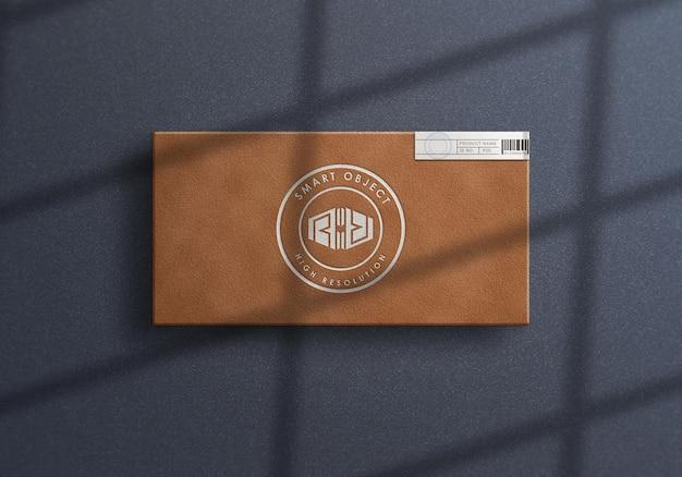 豪華なボックスのロゴのモックアップデザインの上面図
