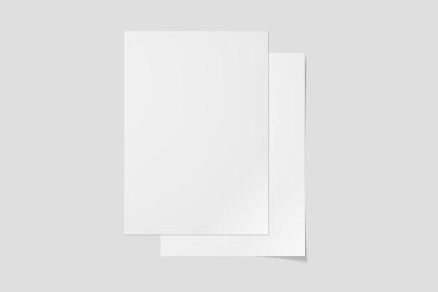 깨끗한 전단지 모형 페이지의 상위 뷰