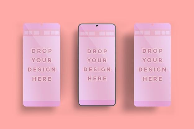 分離されたスマートフォン画面モックアップの上面図