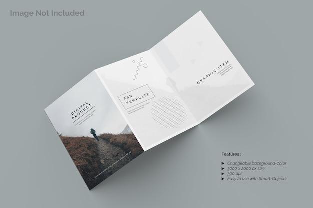Вид сверху на макет брошюры сложения