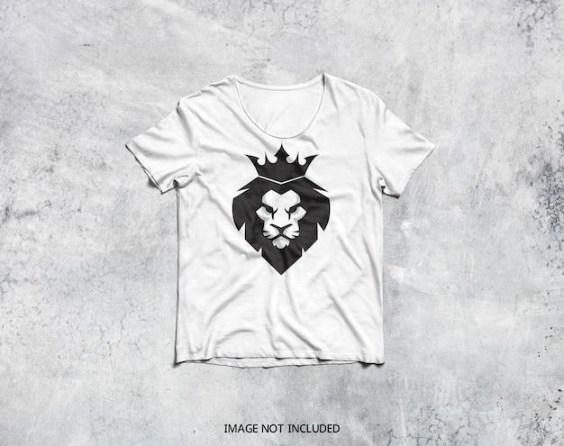 白いtシャツのモックアップの上面図