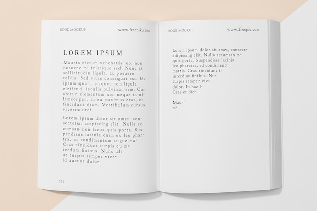 Top view open book mock-up