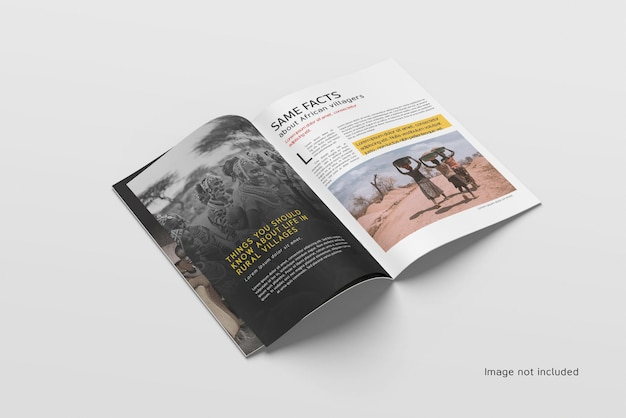 Top view of open magazine or catalog mockup