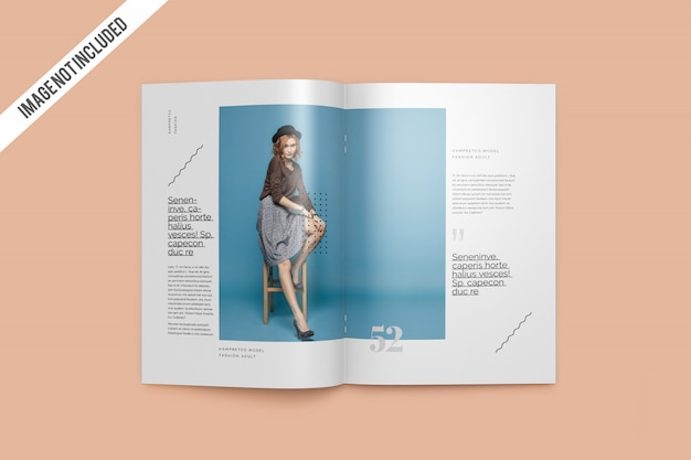 Top view open magazine mockup
