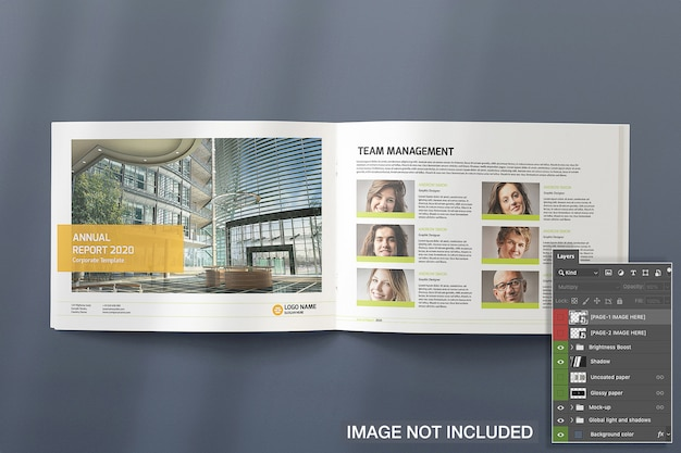Top view of opened landscape magazine mockup