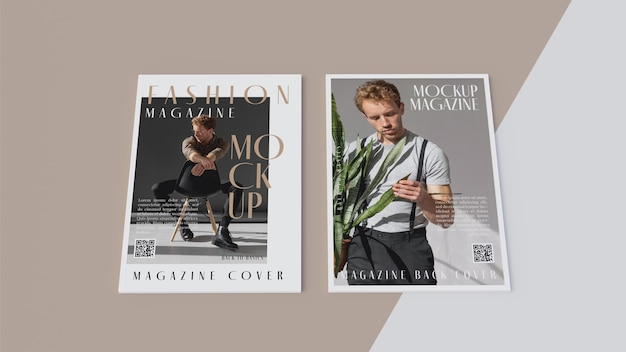 Top view on opened magazine design mockup