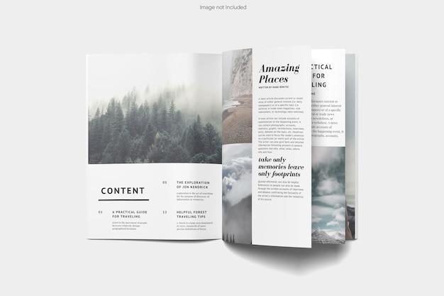 分離された上面図開いた雑誌のモックアップデザインレンダリング