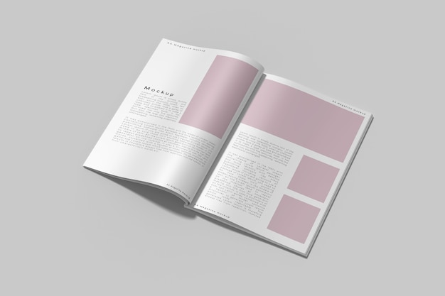 Top view on opened magazine mockup