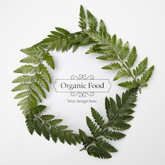 Top view organic food with mock-up concept