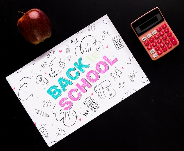Top view organized back to school desk