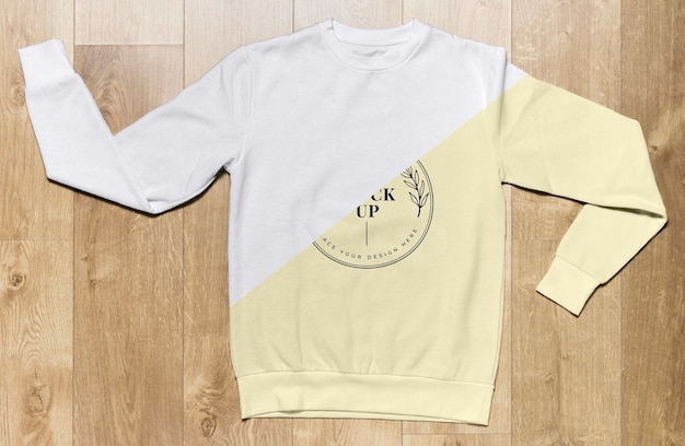 Top view pale yellow hoodie mock-up