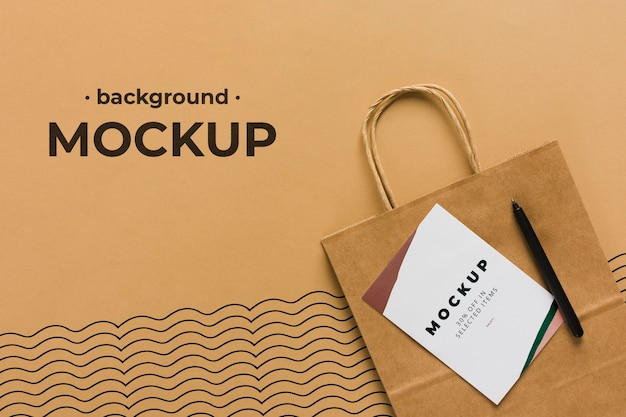 Top view paper bag mock-up background