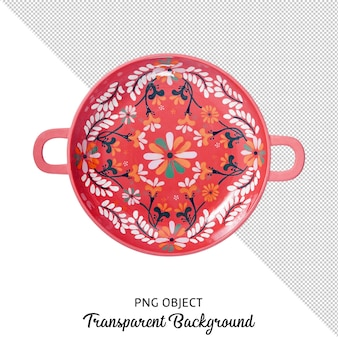 Top view of patterned ethnic round serving plate isolated