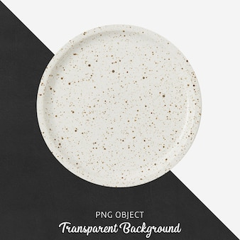 Top view of patterned round white plate mockup