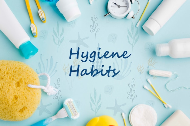 Top view personal care accessories for hygiene habits