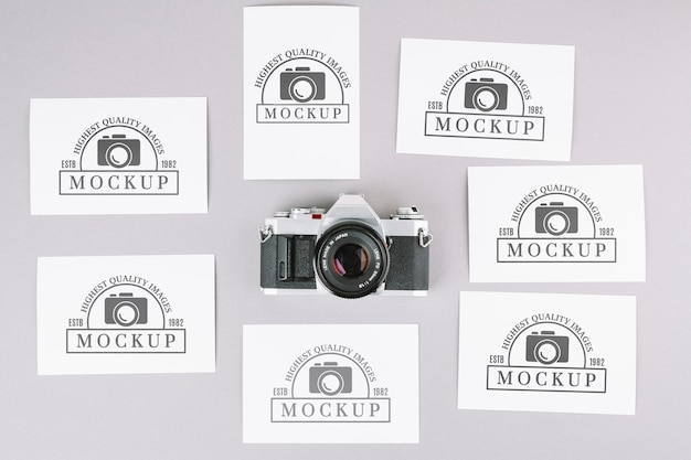 Top view photo camera mockup